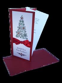 KARTKA BOŻONARODZENIOWA * Choinka z Kokardą * czerwony * kartka pocztowa