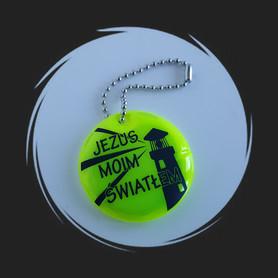 BRELOK ODBLASKOWY * Jezus Moim Światłem (latarnia) * okrągły * gadżet