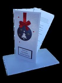 KARTKA BOŻONARODZENIOWA * Bombka z Kokardą * biały * kartka pocztowa