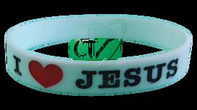BRANSOLETKA SILIKONOWA * I Love Jesus * biała * gadżet